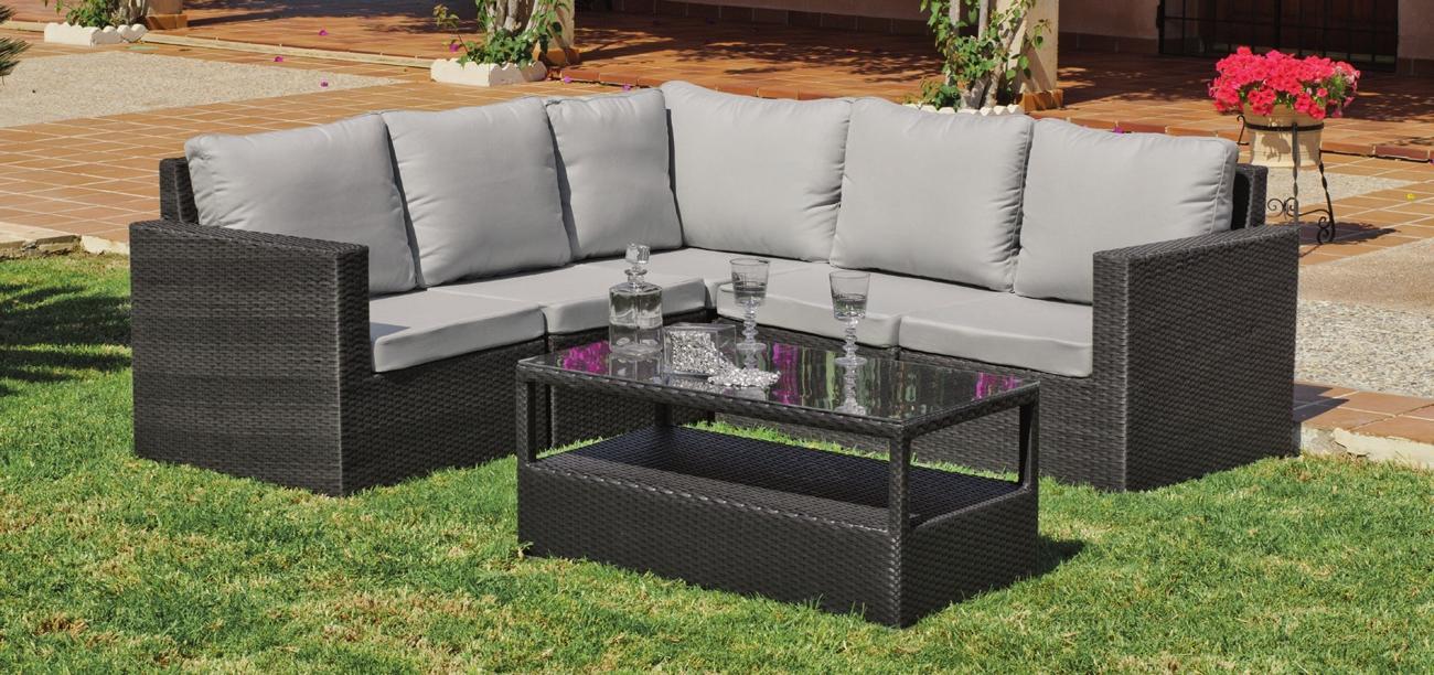 Set muebles de lujo para exteriores SALERMO 9 - Muebles de Rattan de lujo con resistencia garantizada
