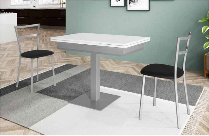 Mesa cocina extensible Bering, Cristal  - Mesa de cocina extensible, acabados de cristal
