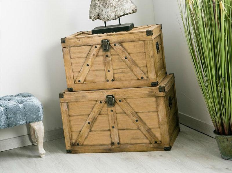Set de Baúles madera listones - Set de Baúles madera listones