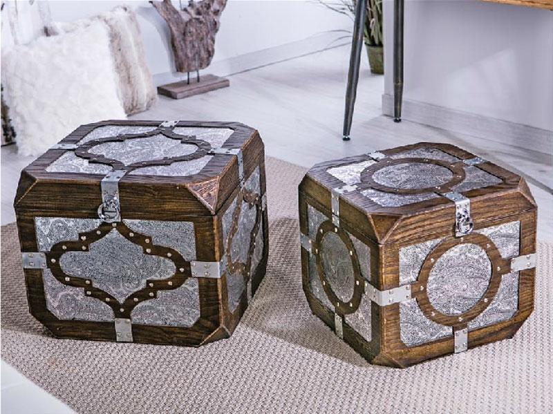 Set de Baúles madera plata - Set de Baúles madera plata