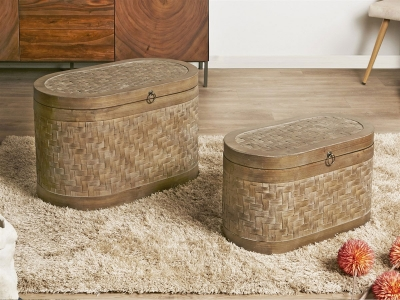 SET BAUL MADERA DECORADO RATTAN