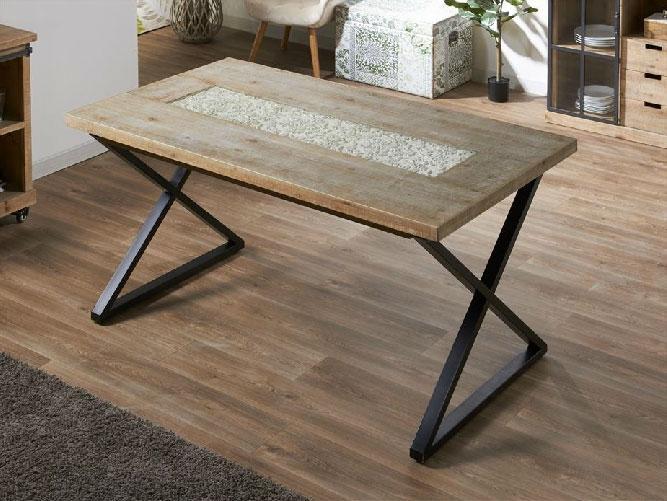 Mesa extensible de madera y tapa de cristal for Mesa comedor madera y metal
