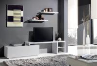 Set de tv moderno con estante a juego - Set de TV moderno.