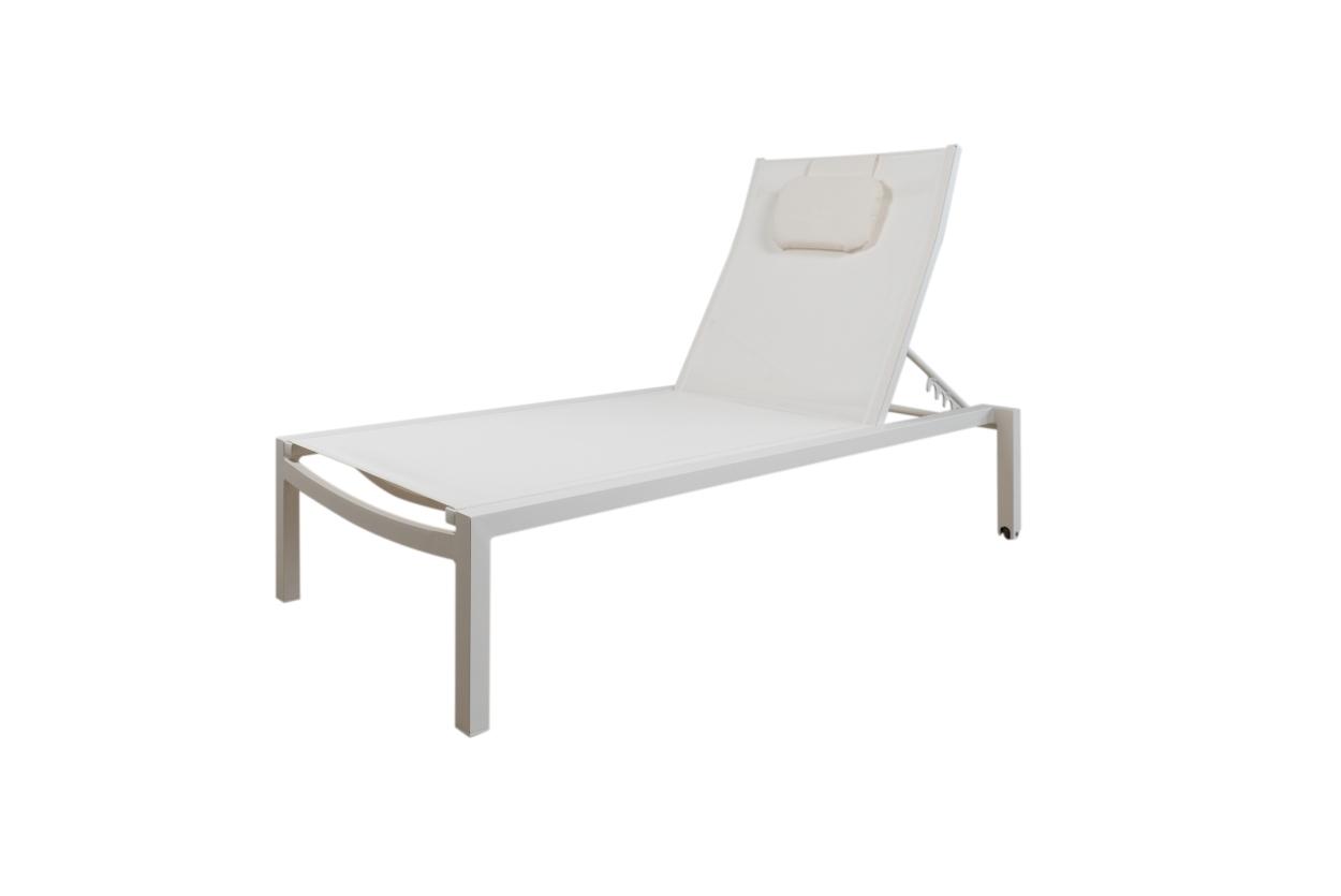 Tumbona moderna de aluminio modelo Abby - Tumbona moderna de diseño, sin brazos y fabricada en aluminio color Antracita, Blanco o Visón