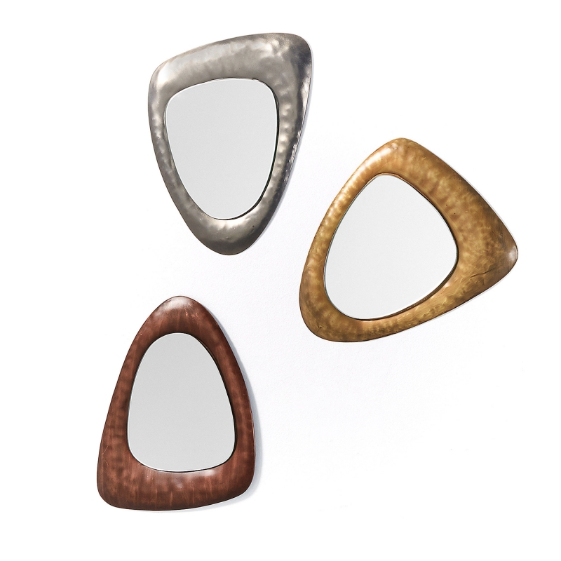 Set 3 espejos WANNA - WANNA Set 3 espejos metal estaño, latón y cobre