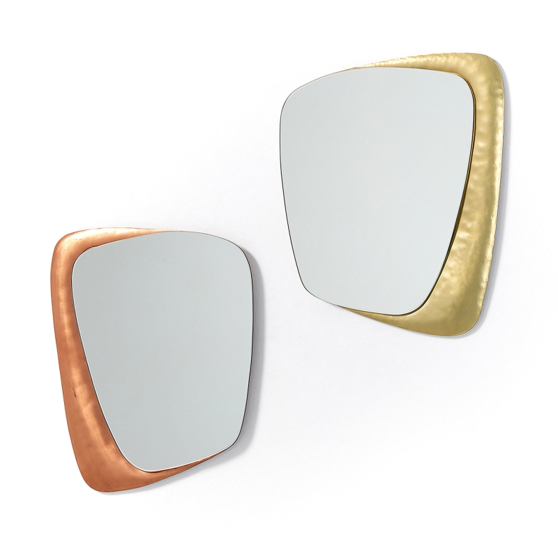 Set 2 espejos WANNA - WANNA Set 2 espejos metal cobre y latón