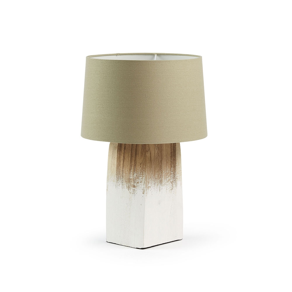 SCALM Lámpara de sobremesa madera - SCALM Lámpara de sobremesa madera blanca o negra pantalla blanca