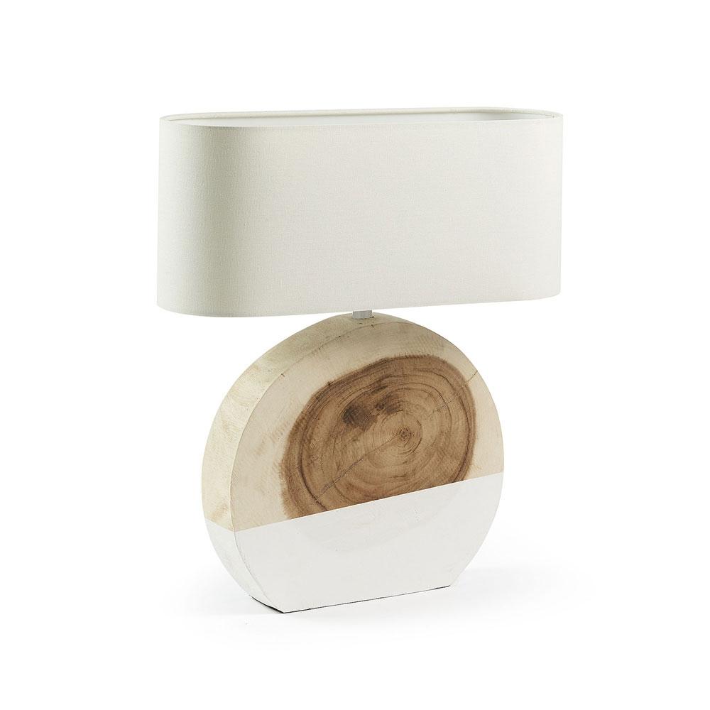 WINKA Lámpara de sobremesa madera - WINKA Lámpara de sobremesa madera blanca pantalla blanca