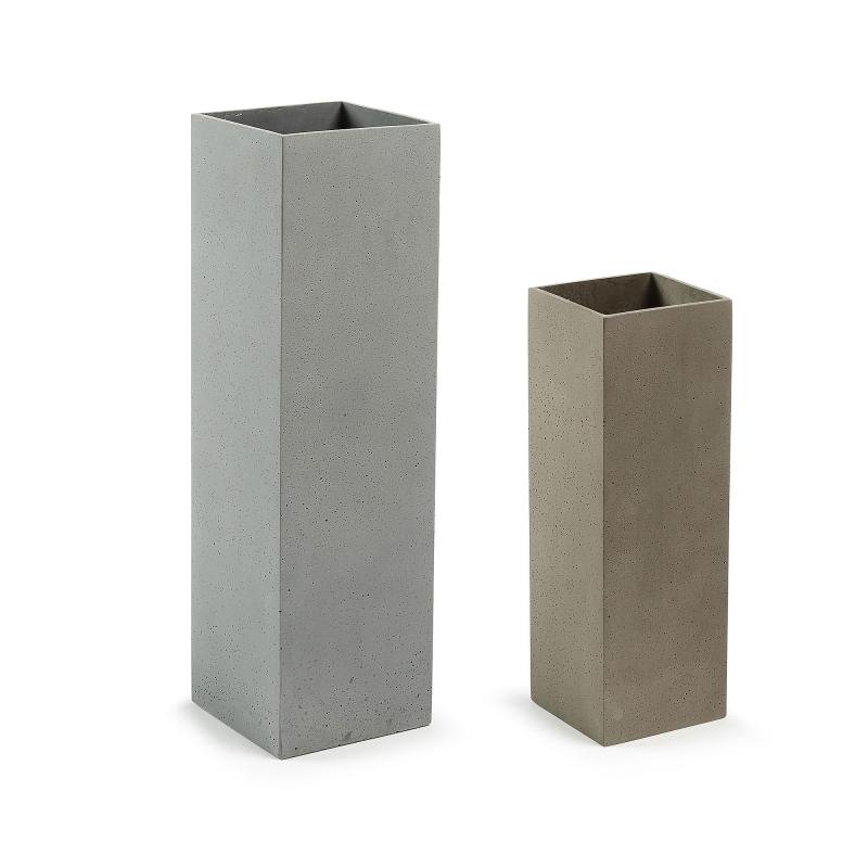Set 2 jarrones STEFY Cuadrado - STEFY Set 2 jarrones cemento gris