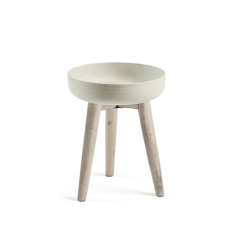 Macetero STAHL - STAHL Macetero 43 acacia blanco cepillado cemento gri