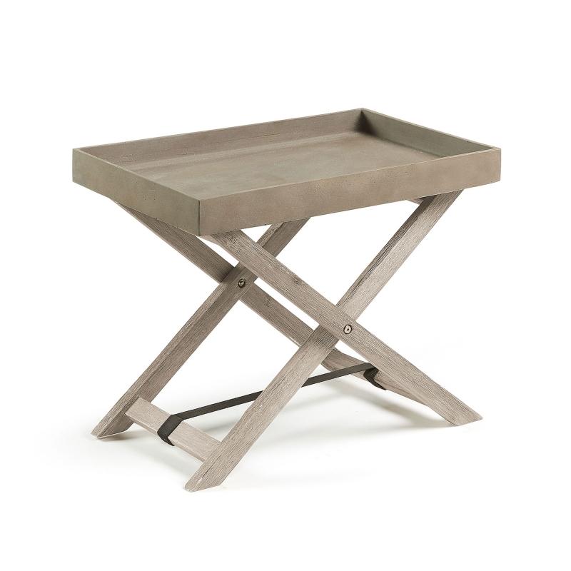 Mesa estanteria Stahl - STAHL Mesa plegable acacia blanco cepillado cemento