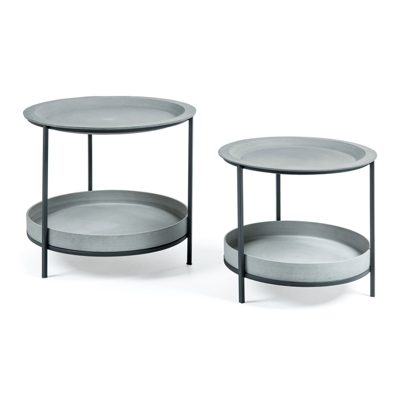 Set 2 mesas Sleet - SLEET Set 2 mesas metal cemento gris