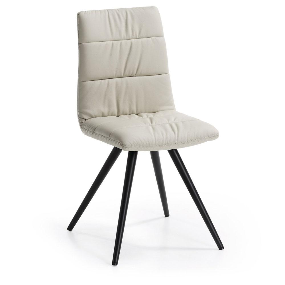 Silla LARK2 - LARK2 Silla FR asiento Pu Perla Pies y patas epoxy negro