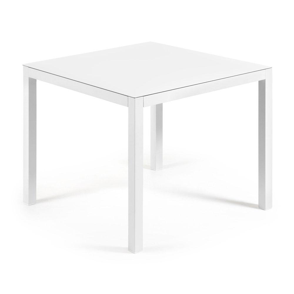 Mesa Bogen 90 - BOGEN Mesa 90x90 aluminio blanco, cristal blanco