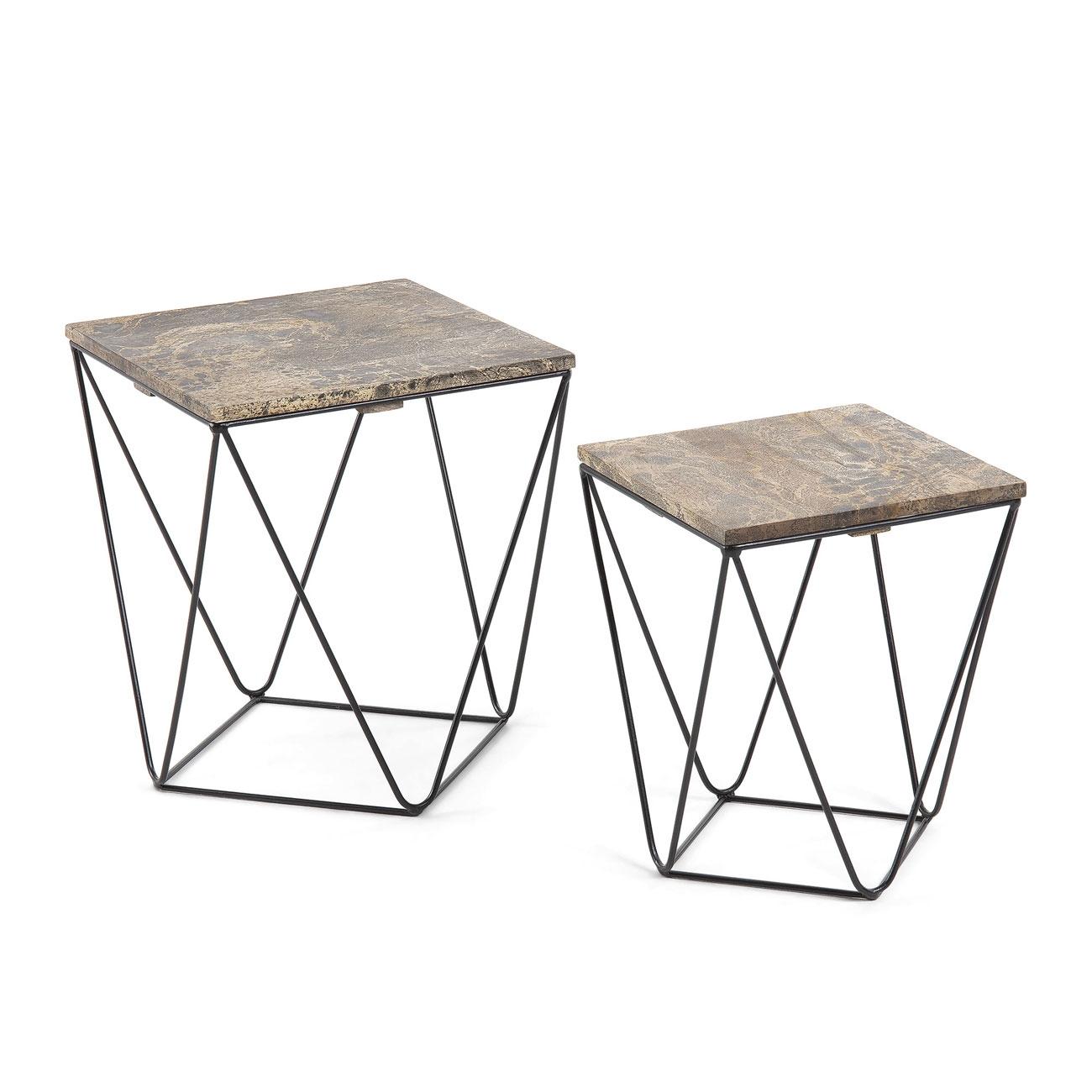 Set 2 mesas metal madera HAWK   - Set 2 mesas metal madera de mango HAWK