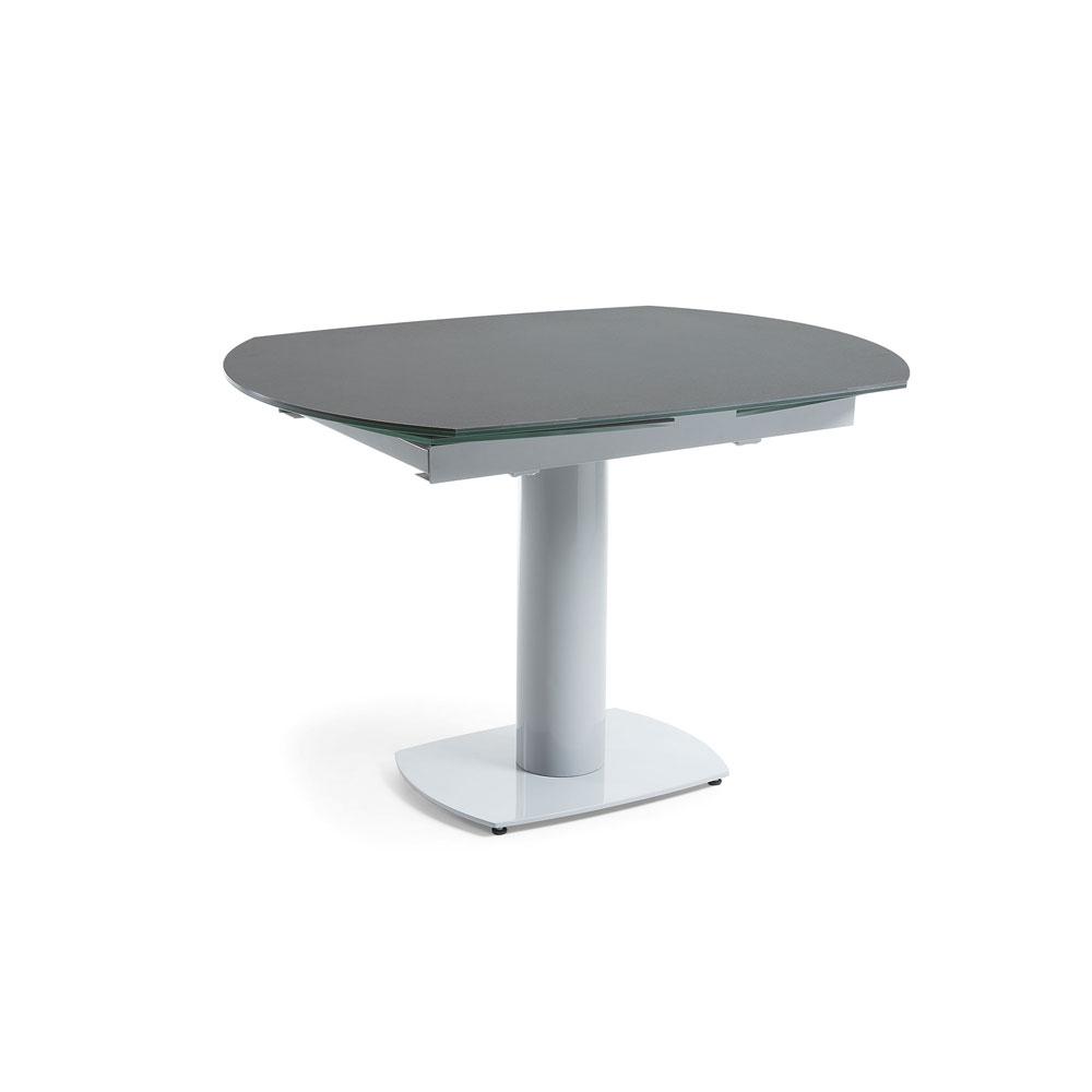 Mesa extenible Stephane  - STEPHANE Mesa 120(180)x90 gris, cristal, porcelánico
