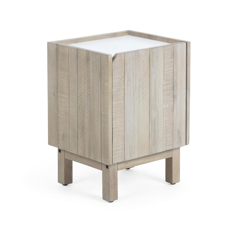 Mesita TROPEA - TROPEA Mesita de noche 41x55 madera acacia,dm blanco m