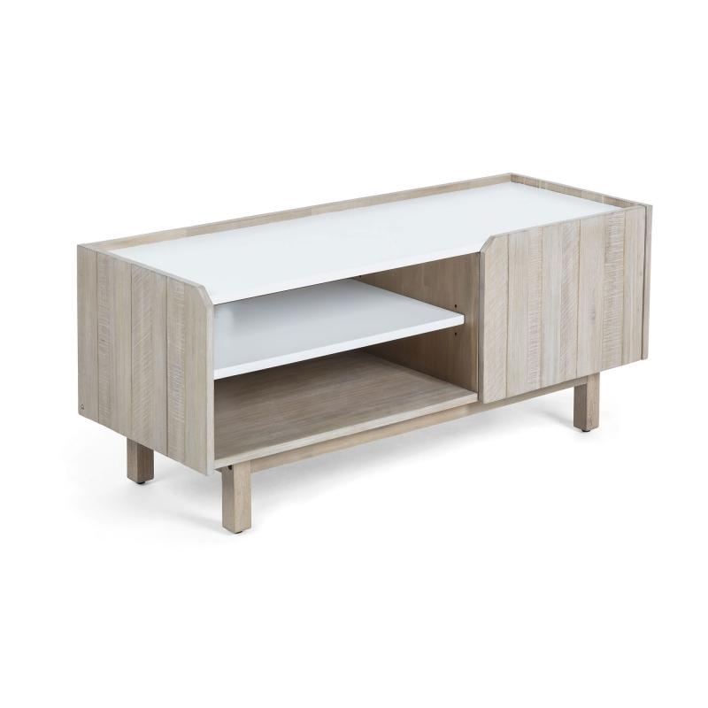 Mueble de TV TROPEA - TROPEA MuebleTv 120x50 madera acacia, dm blanco mate