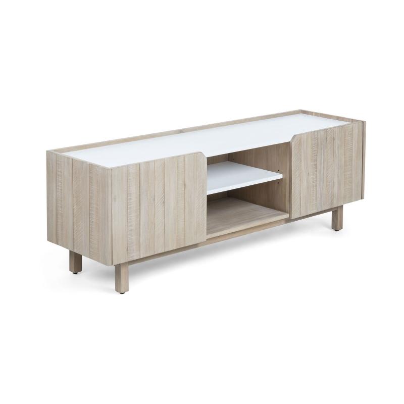 Mueble de TV TROPEA 2 - TROPEA Mueble Tv 160x55 madera acacia, dm blanco mate