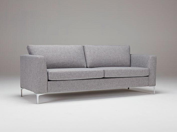 Sofá Shea - Un diseño escandinavo moderno con brazos completamente tapizados, patas en cromo