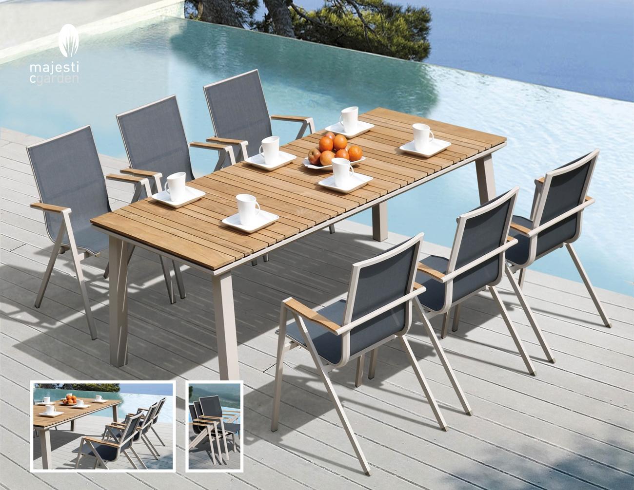 COMEDOR PARA EXTERIOR BOLIVIA - Juego de mesa y sillas para exterior modelo SIDNEY de Majestic Garden