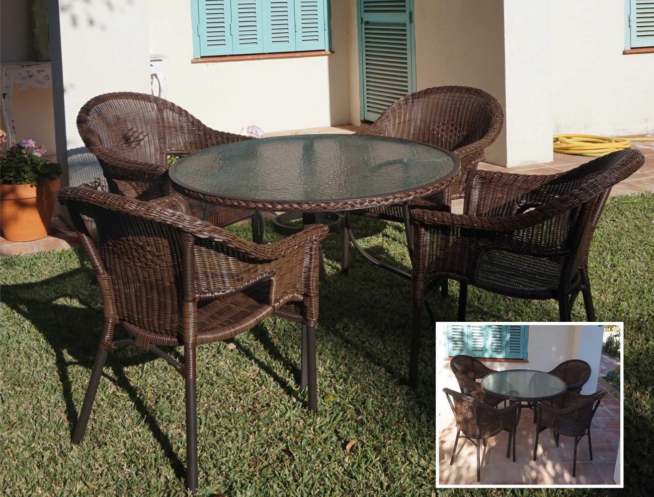 Set mesa para exterior y sillones Persia - Set de mesa de exterior y sillones en estructura de aluminio y fibra sintetica, PERSIA
