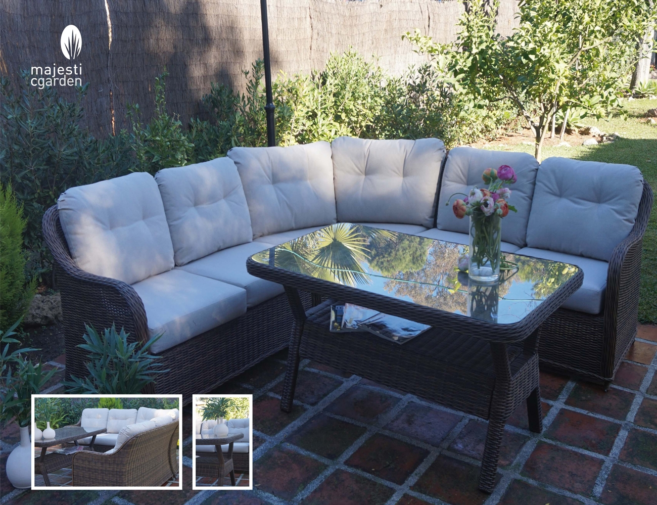 Set de sofá para exterior Algarve - Composición de muebles de jardín o terraza modelo ALGARVE de Majestic Garden