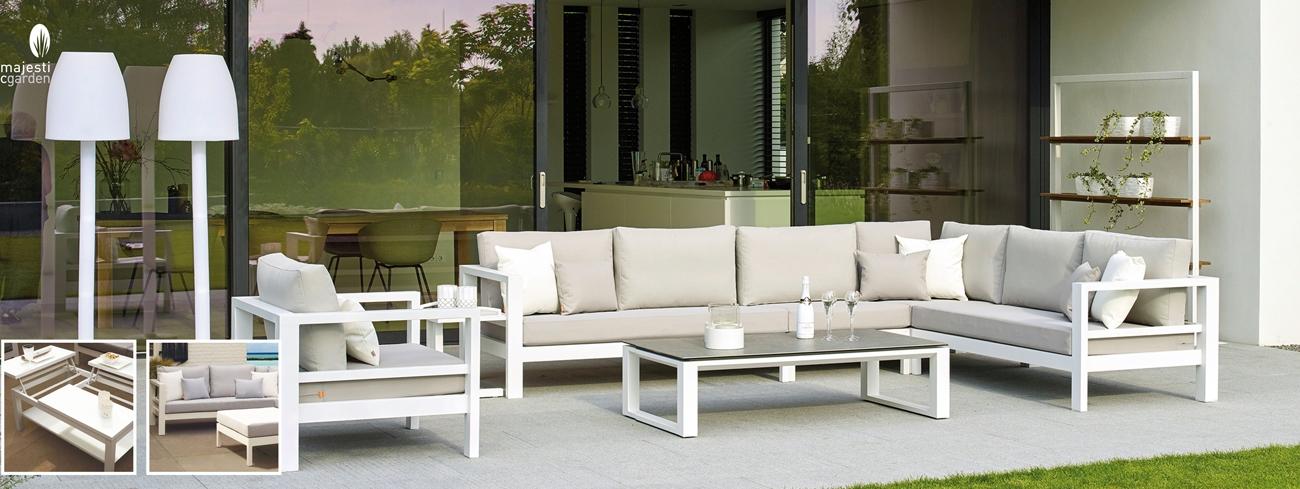 Set de sofá para exterior Delta de aluminio - Conjunto con estructura de aluminio en color blanco