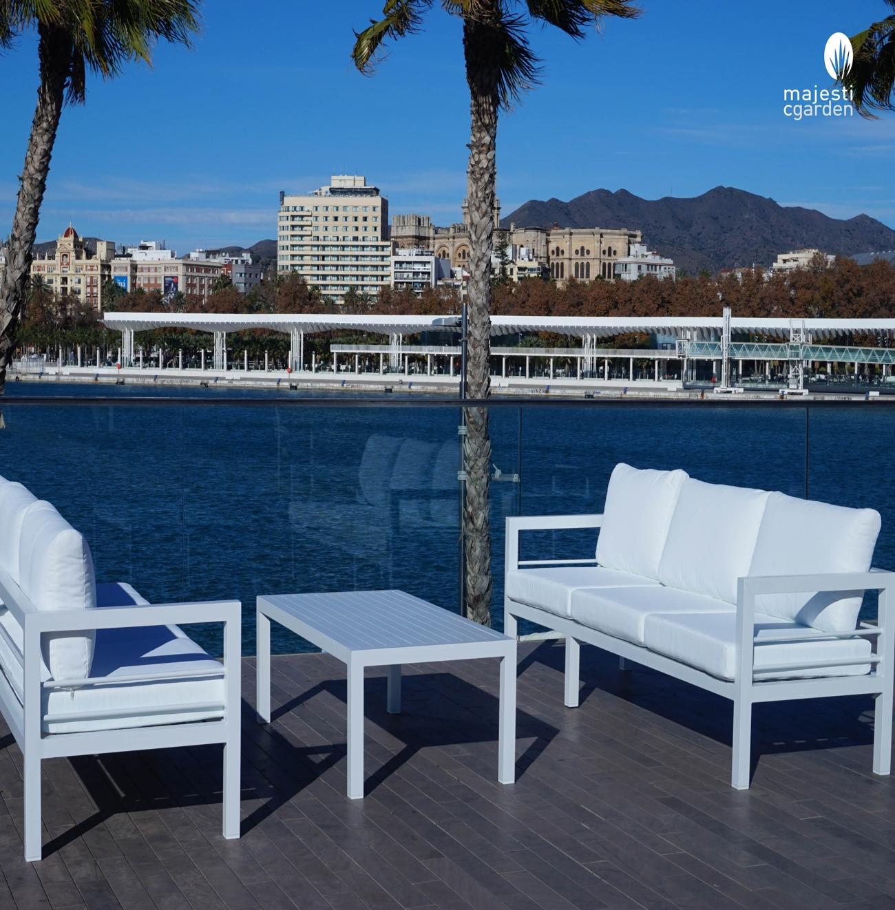 SET SOFA DE EXTERIOR AINARA DE ALUMINIO - Set para terraza o jardín modelo AINARA de Majestic Garden de aluminio