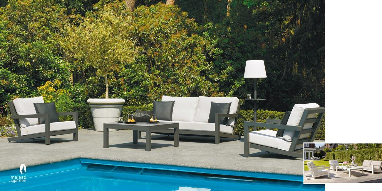 SET SOFA DE EXTERIOR BLOCK  DE ALUMINIO - Set para terraza o jardín modelo BLOCK de Majestic Garden Set de aluminio para exterior