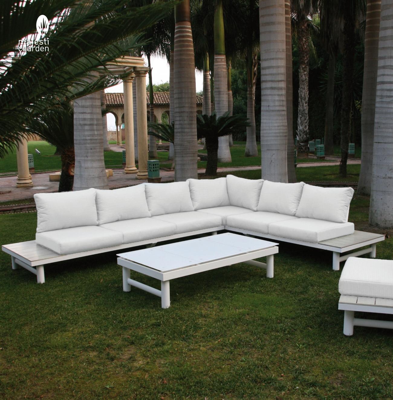 Set de sofá para exterior Creta de aluminio - Conjunto con estructura de aluminio en color blanco y detalles en color marrón que simulan madera