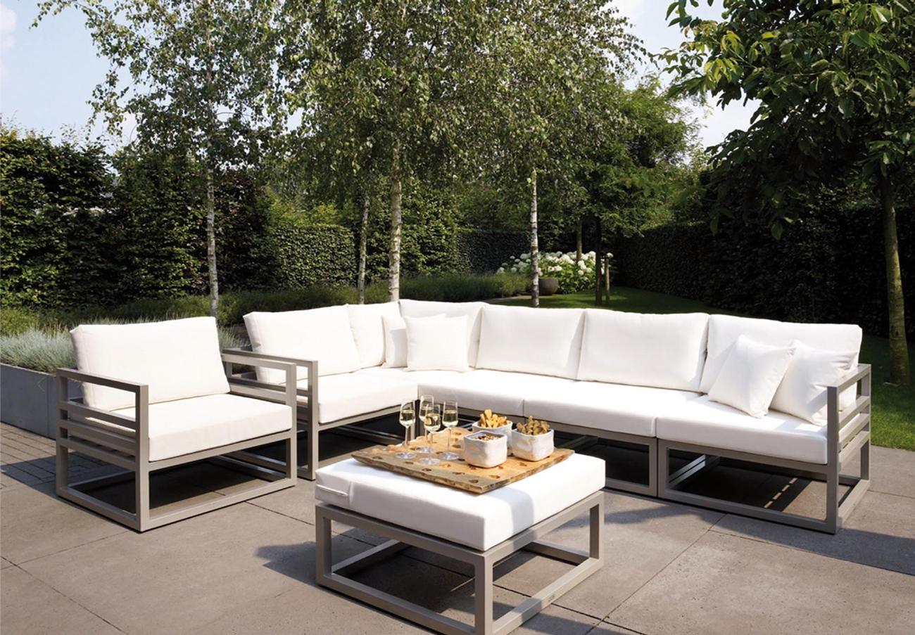 Sofá para exteriores FRANCIA aluminio - Juego de sofá para exteriores en estructura de aluminio y cojineria en batyline, FRANCIA