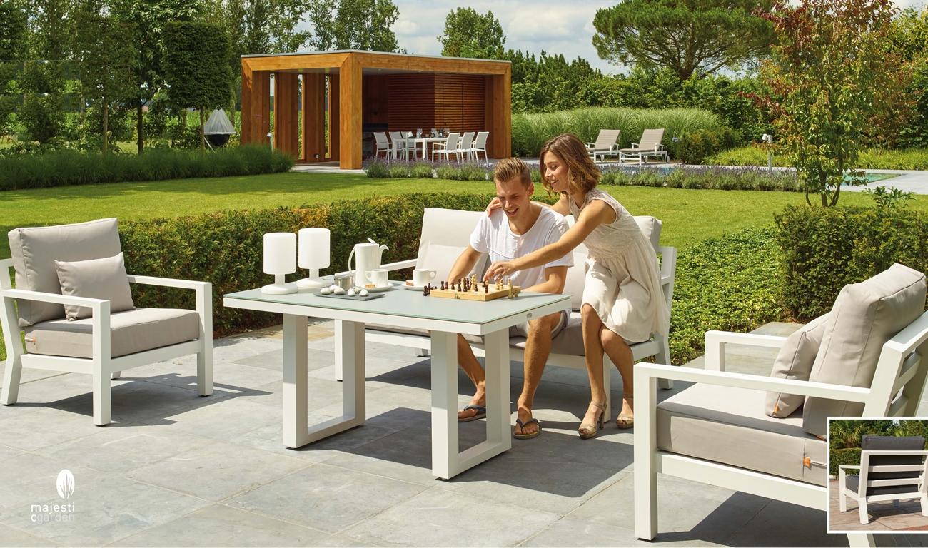 SET SOFA DE EXTERIOR TIMBER  DE ALUMINIO - Set para terraza o jardín modelo TIMBER de Majestic Garden de aluminio para exterior