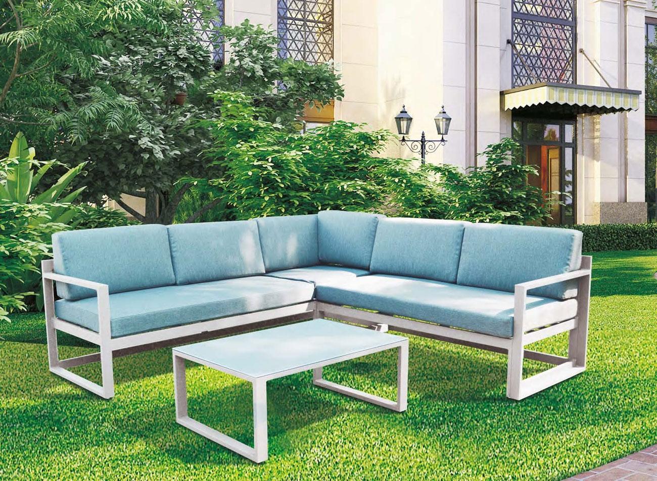 SET SOFA DE EXTERIOR BORNEO - Set para terraza o jardín modelo BORNEO de Majestic Garden color blanco o antracita.