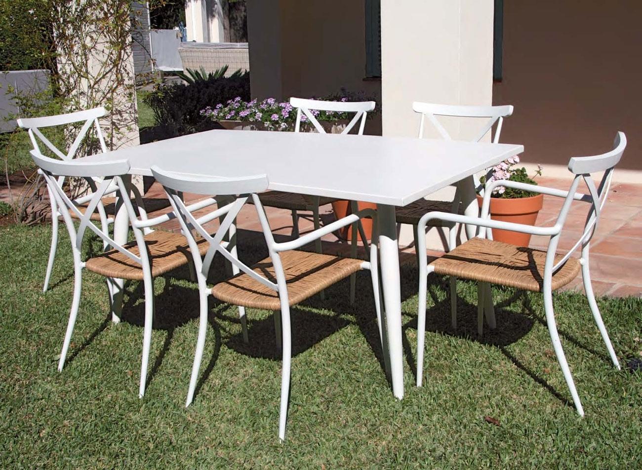 Set de mesa para exterior CHIC - Set de mesa de exterior con 6 sillones. Estructura de aluminio y cojineria en batyline