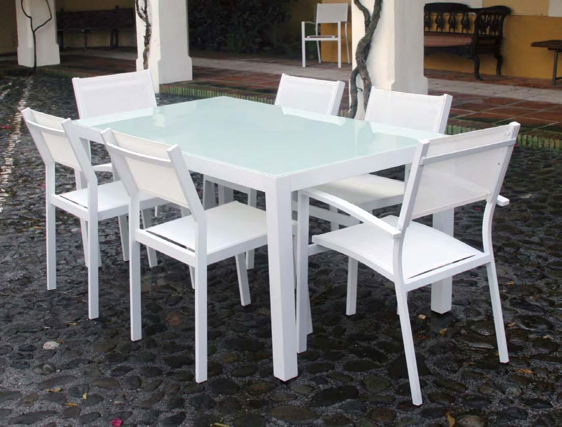 Set de mesa para exterior OSLO - Conjunto de comedor fabricado en aluminio de color blanco o beige.