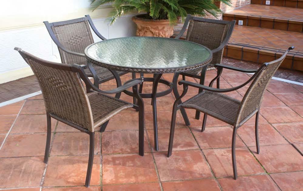 Serie trendy 2 conjunto de mesa de comedor - Conjunto con estructura de aluminio y fibra sintética color marrón