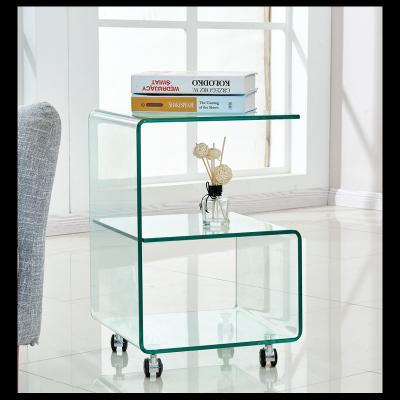 Mesa auxiliar de cristal con ruedas