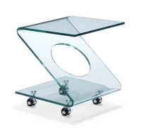 Mesa auxiliar de cristal con ruedas - Mesa auxiliar de cristal