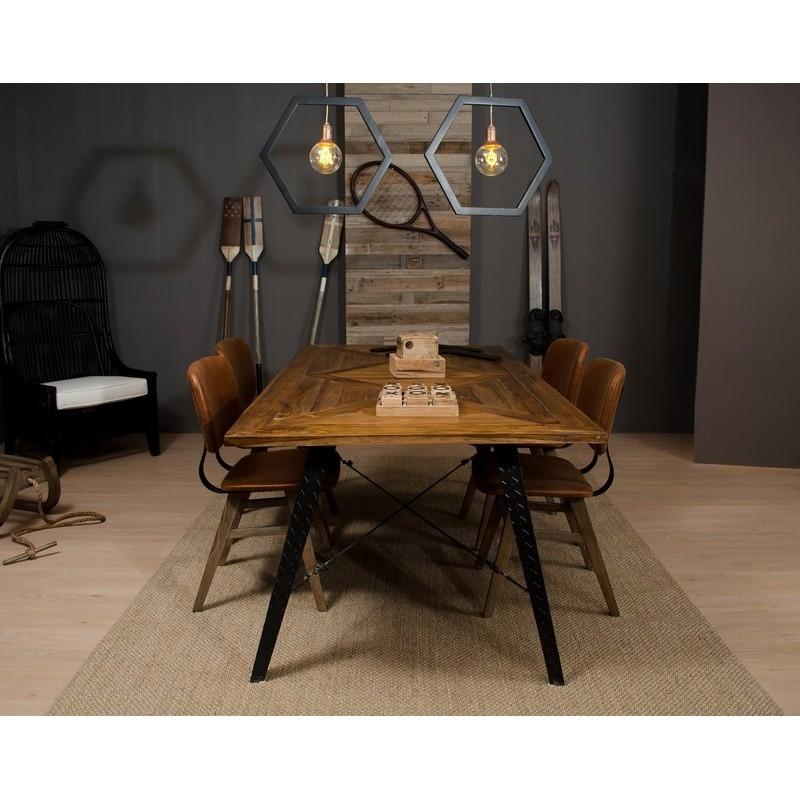 Mesa de comedor Bilbao - Mesa de comedor madera de teca natural y hierro
