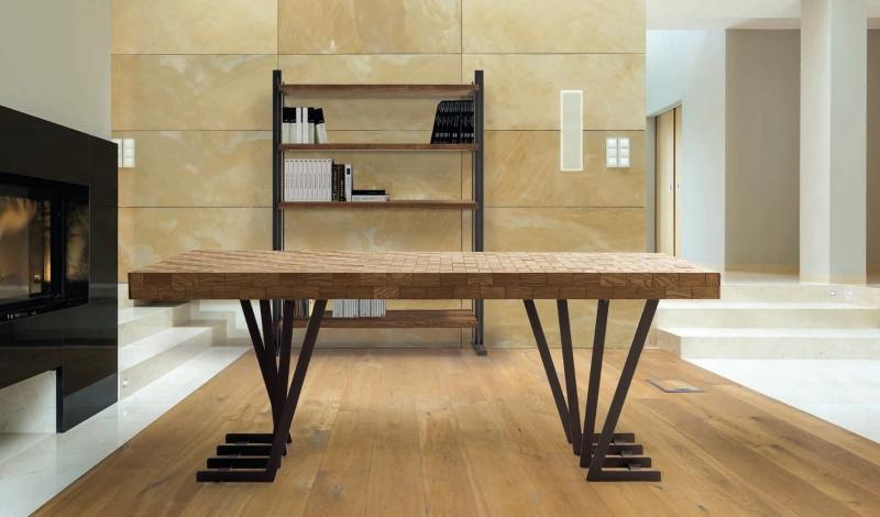 Mesa de comedor en madera de fresno trenzado y patas de metal - Mesa de comedor Trenza 2x1m con tapa de madera de fresno y patas de metal
