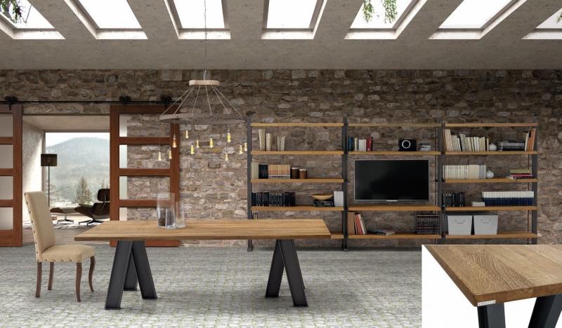 Mesa de comedor en madera de robre - Mesa de comedor en madera de roble con acabado rustico