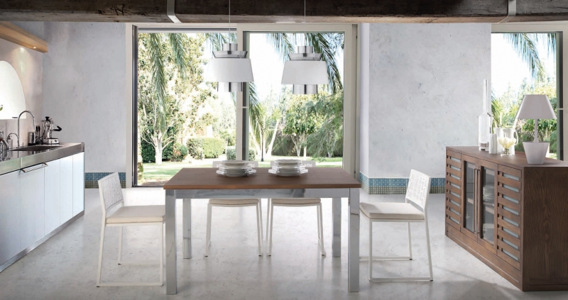 Mesa de comedor en roble marinado macizo - Mesa comedor de roble marinado con la tapa y la estructura macizo (OPCIÓN 5)