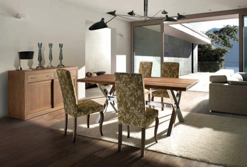 Mesa de comedor con patas P3 - Mesa de comedor en madera de robre con acabado mobila