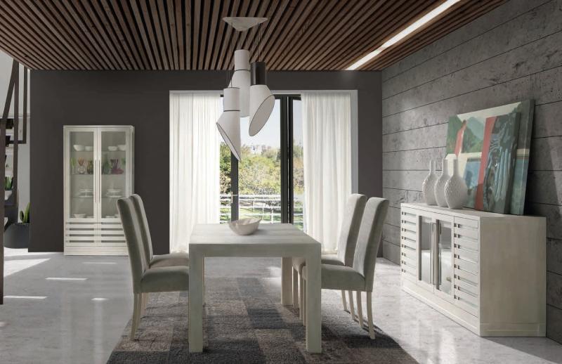 Mesa comedor extensible con patas de madera Suspirarte - Mesa Comedor en color Decapé Ceniza en robre o fresno
