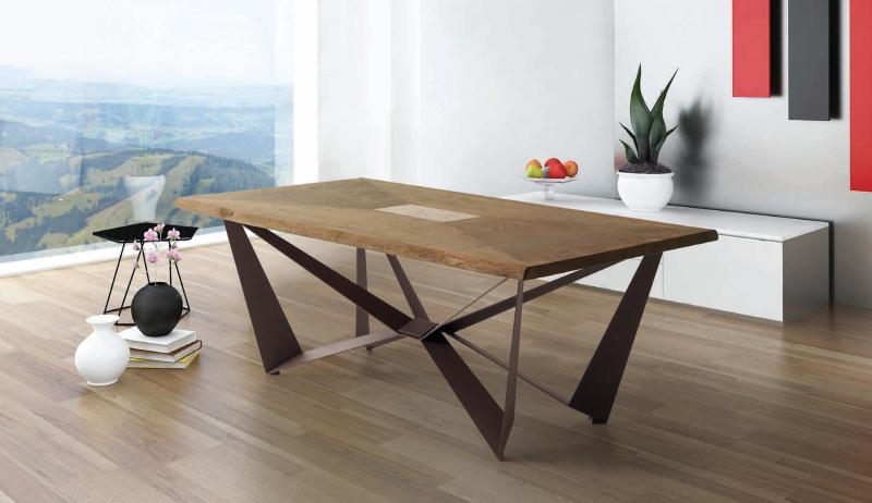 Mesa de comedor con tablero de robre y nacar - Mesa de comedor con tapa en madera de robre con bandeja de nacar y patas de metal