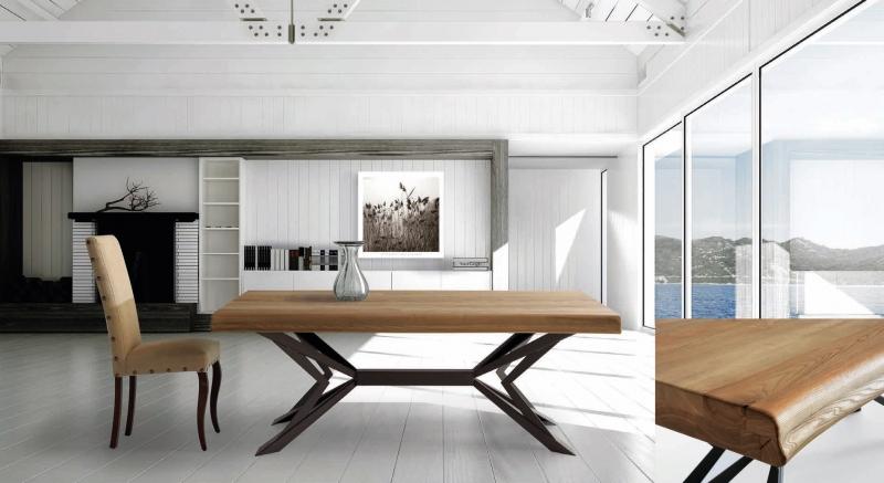 Mesa de comedor en madera de fresno bordes tronco y patas metalicas - Mesa de comedor en madera de fresno macizo con bordes de tronco