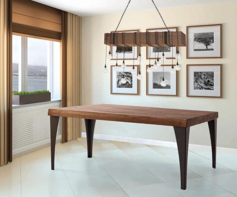 Mesa de comedor en madera de fresno - Mea de comedor con el tablero en madera  maciza de fresno y patas metalicas