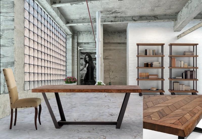 Mesa de comedor en madera de fresno con bordes de tronco - Mesa de comedor rectangular fija o extensible en madera de fresno viejo con patas de metal