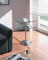 Mesa auxiliar de cristal pata cromada - Mesa auxiliar de cristal con ruedas